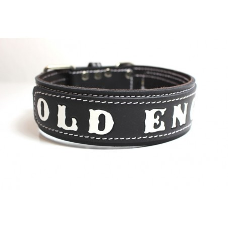 Lederhalsband - OLD ENGLISH black two