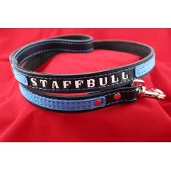 Lederleine - Staff-Bull kurz schwarz - blau